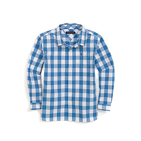 Tommy Hilfiger Check Shirt - French Blue Tommy Hilfiger Little Boys' Shirt.• Outlet Exclusive Style.• 100% Cotton.• Machine Washable.• Imported.