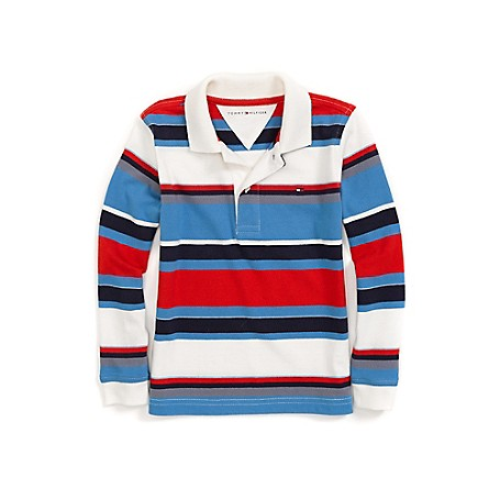 Tommy Hilfiger Stripe Long Sleeve Polo - French Blue Tommy Hilfiger Little Boys' Polo.• Outlet Exclusive Style.• 100% Cotton.• Machine Washable.• Imported.