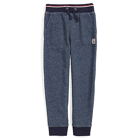 Tommy Hilfiger Final Sale- Fashion Trackpants - Blue Heather Tommy Hilfiger Little Boys' Track Pants.•Outlet Exclusive Style.•82% Cotton, 18% Synthetic. •Internal Adjustable Waist-Tabs. •Machine Washable.•Imported.
