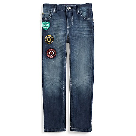 Tommy Hilfiger Signature Patch Slim Jeans - Beach Lake Tommy Hilfiger Little Boys' Jean.• Outlet Exclusive Style.• 100% Cotton. • Internal Adjustable Waist Tabs.• Machine Washable.• Imported.