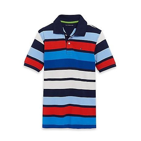 Tommy Hilfiger Stripe Polo - French Blue Tommy Hilfiger Big Boys' Polo.•Outlet Exclusive Style.•100% Cotton. •Machine Washable.•Imported.