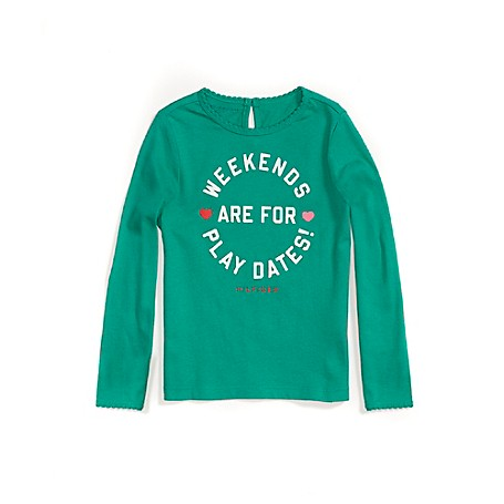 Tommy Hilfiger Play Dates Long Sleeve Tee - Emerald - 3T Tommy Hilfiger Little Girls' Tee. Outlet Exclusive Style. 100% Cotton. Machine Washable. Imported.