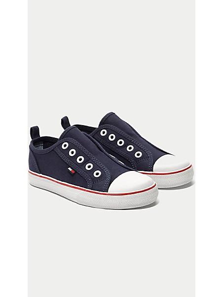 타미 힐피거 키즈 스니커즈 Tommy Hilfiger TH Kids White Laceless Sneaker,NAVY