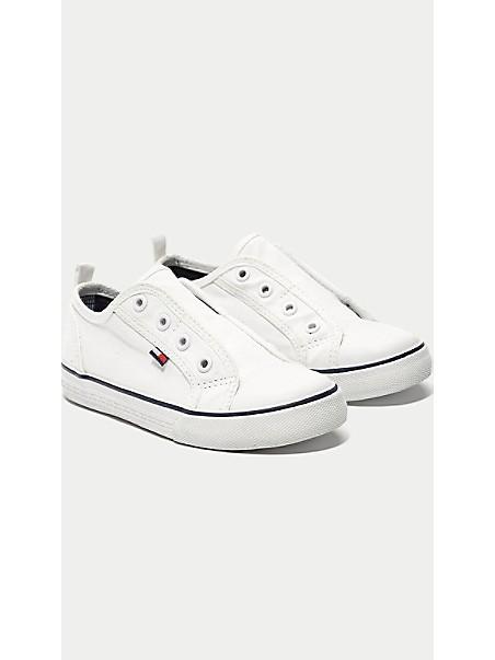 타미 힐피거 키즈 스니커즈 Tommy Hilfiger TH Kids Navy Laceless Sneaker,WHITE