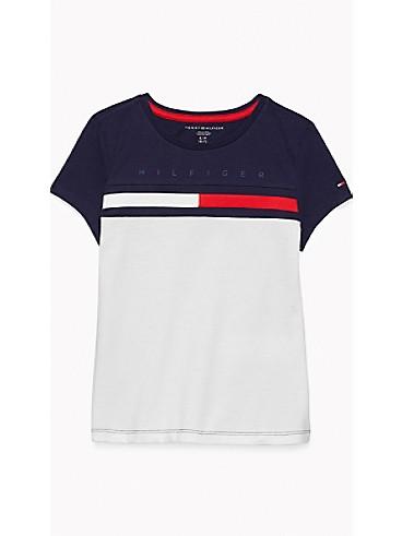 타미 힐피거 Tommy Hilfiger TH Kids Colorblock T-Shirt,CLASSIC WHITE/NAVY