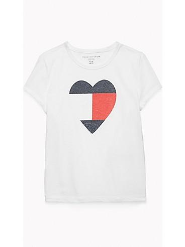 타미 힐피거 Tommy Hilfiger TH Kids Heart T-Shirt,CLASSIC WHITE