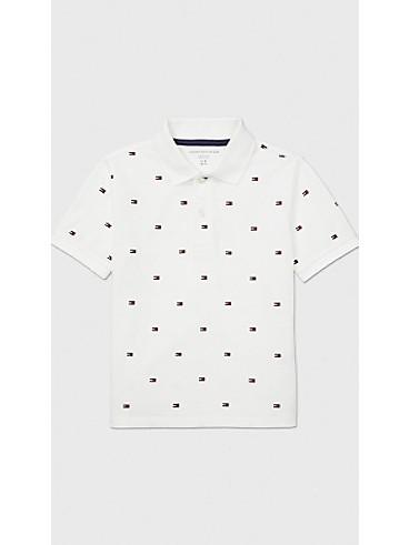 타미 힐피거 키즈 폴로 반팔 티셔츠 Tommy Hilfiger TH Kids Flag Polo,CLASSIC WHITE
