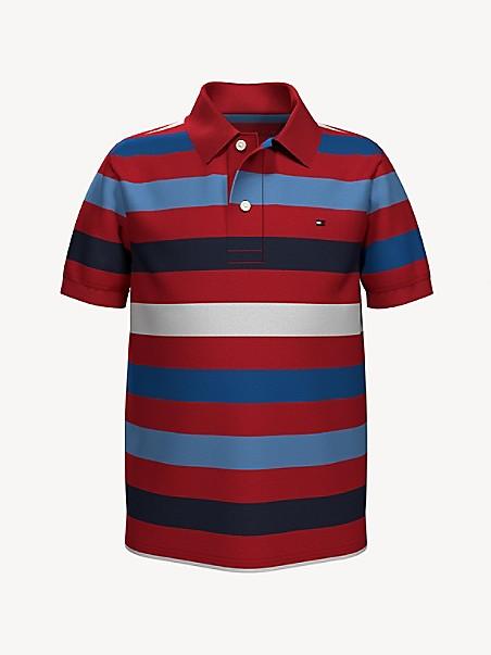 타미 힐피거 키즈 폴로셔츠 Tommy Hilfiger TH Kids Wide Stripe Polo,HIGH RISK RED/ MULTI