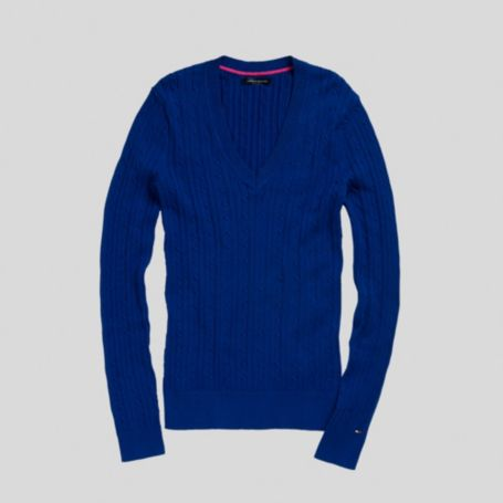 Image for SOLID CABLEKNIT VNECK SWEATER from Tommy Hilfiger USA