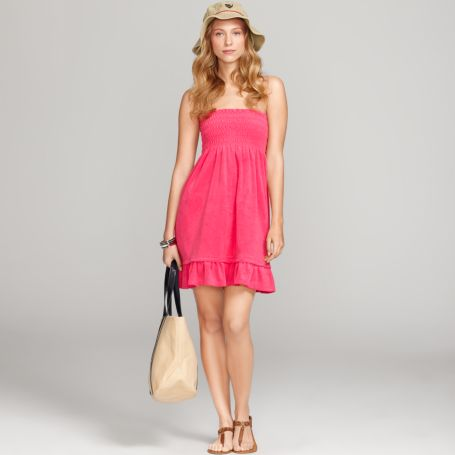 Image for SMOCKED TERRY SWIM COVER-UP from Tommy Hilfiger USA