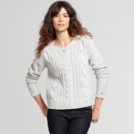 CREW NECK CABLE SWEATER $99.99