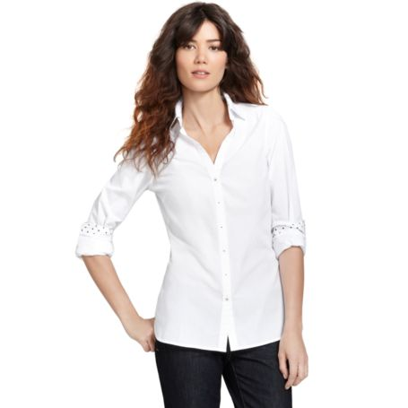 Image for CLASSIC WHITE SHIRT WITH POLKA DOT CUFFS from Tommy Hilfiger USA