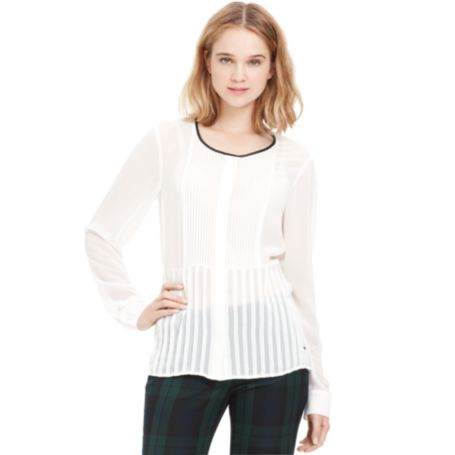 Image for TUXEDO FRONT CHIFFON BLOUSE from Tommy Hilfiger USA
