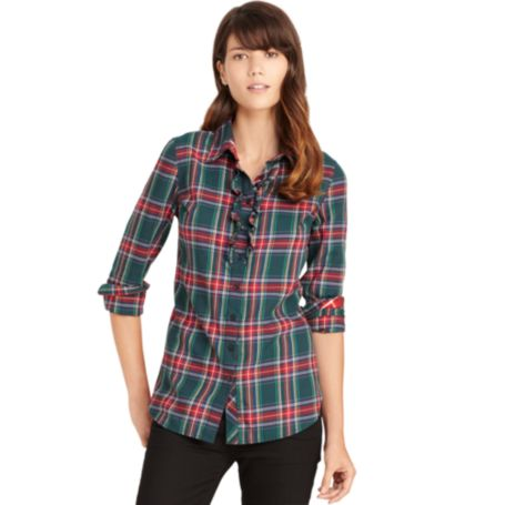 Image for PLAID RUFFLE SHIRT from Tommy Hilfiger USA