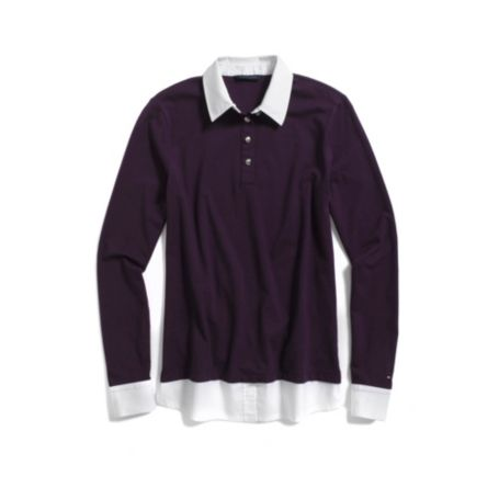 Image for LONG SLEEVE POLO WITH WOVEN DETAILS from Tommy Hilfiger USA