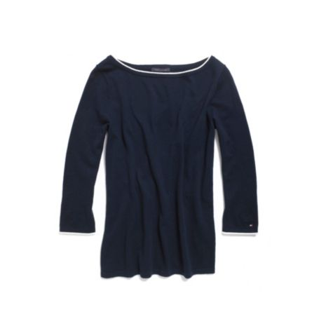 Image for TIPPED BOAT NECK SWEATER from Tommy Hilfiger USA