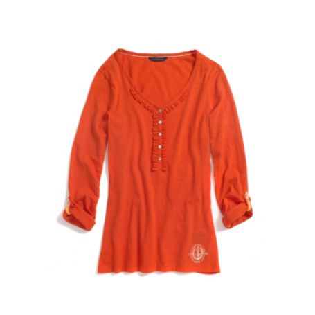 Image for RUFFLE HENLEY WITH ROLL SLEEVE from Tommy Hilfiger USA