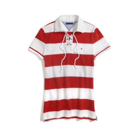 Image for TIE FRONT RUGBY STRIPE POLO from Tommy Hilfiger USA