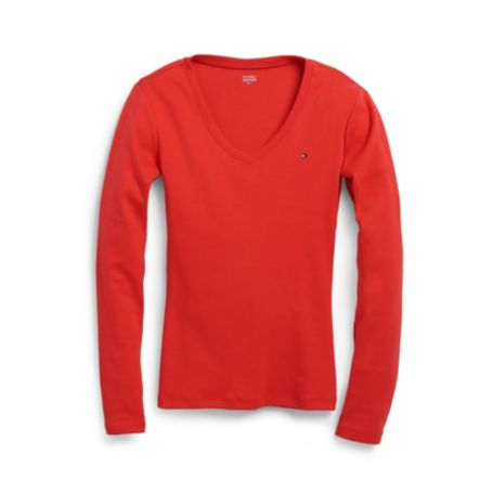 Image for LONG SLEEVE FAVORITE V-NECK TEE from Tommy Hilfiger USA