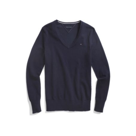 Image for SOLID V NECK COTTON SWEATER from Tommy Hilfiger USA