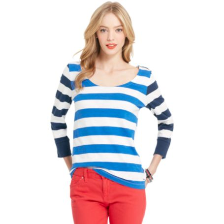 Image for 3/4 SLEEVE STRIPE SCOOP NECK from Tommy Hilfiger USA