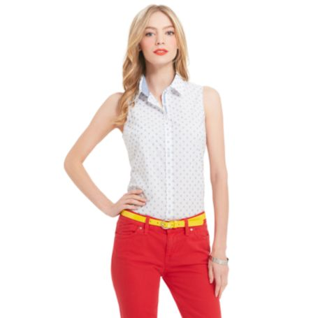Image for SLEEVELESS POLKA DOT SHIRT from Tommy Hilfiger USA