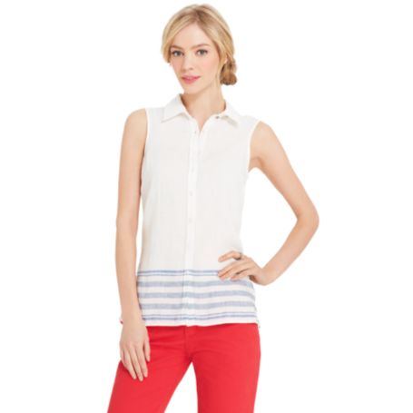 Image for SLEEVELESS LINEN SHIRT from Tommy Hilfiger USA