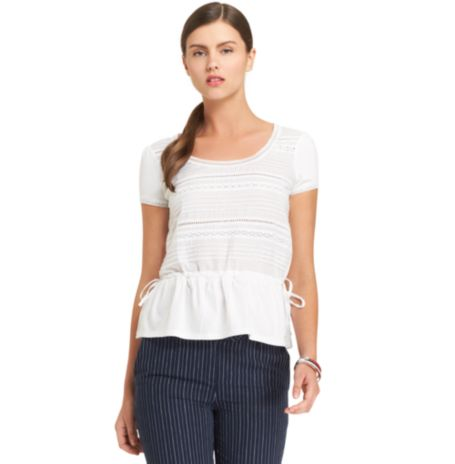 Image for MIX KNIT TOP WITH DRAWSTRING from Tommy Hilfiger USA