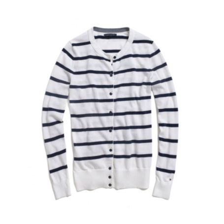Image for STRIPE CREW NECK CARDIGAN from Tommy Hilfiger USA