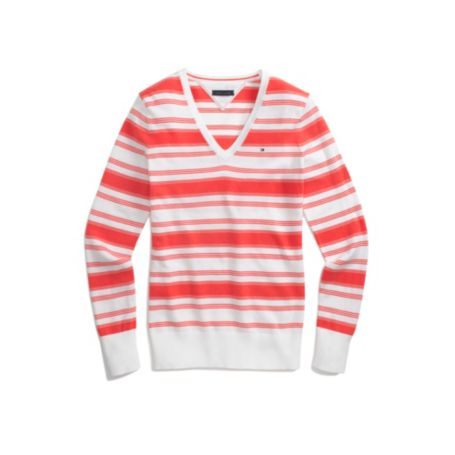 Image for STRIPE V NECK COTTON SWEATER from Tommy Hilfiger USA