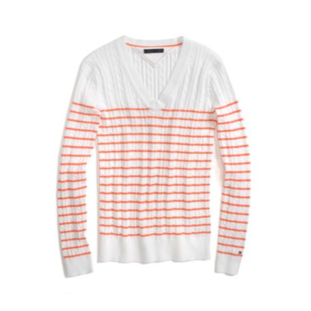 Image for STRIPE CABLEKNIT SWEATER from Tommy Hilfiger USA