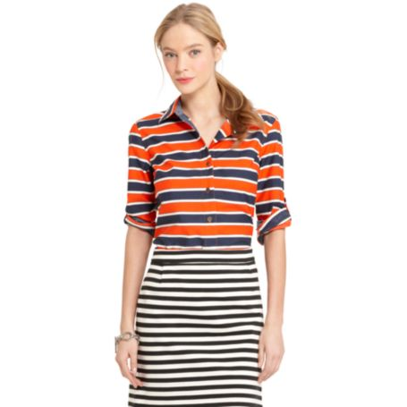 Image for GRAPHIC STRIPE ROLL-TAB SHIRT from Tommy Hilfiger USA