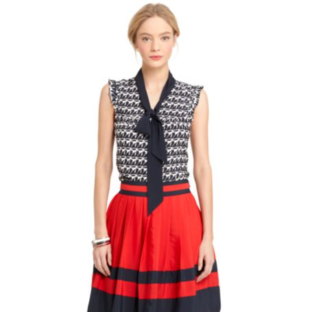 Image for SLEEVELESS BLOUSE WITH TIE from Tommy Hilfiger USA