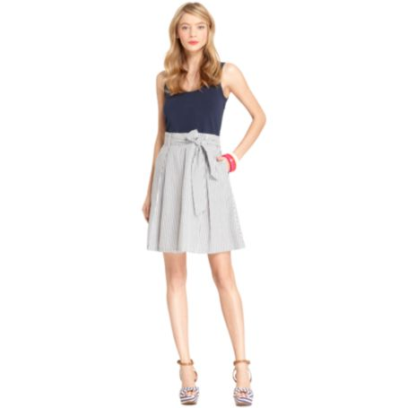 Image for KNIT TOP WOVEN SKIRT DRESS from Tommy Hilfiger USA