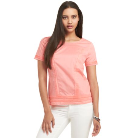 Image for SOLID PLEATED SHORT SLEEVE TOP from Tommy Hilfiger USA