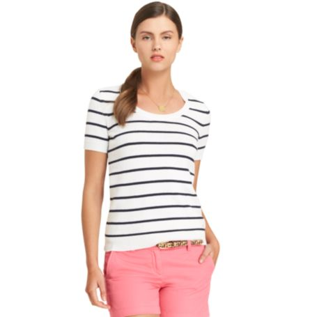 Image for SHORT SLEEVE STRIPE SWEATER from Tommy Hilfiger USA