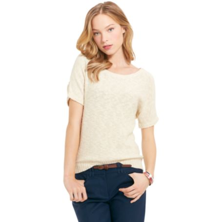 Image for SHORT SLEEVE SWEATER WITH FOIL from Tommy Hilfiger USA