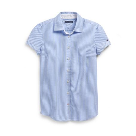 Image for ITHACA STRIPE SHORT SLEEVE OXFORD SHIRT from Tommy Hilfiger USA
