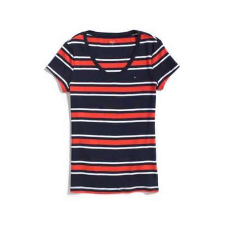 Image for SHORT SLEEVE STRIPE V-NECK TEE from Tommy Hilfiger USA