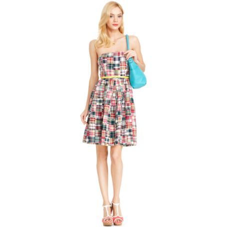 Image for PATCHWORK STRAPLESS DRESS from Tommy Hilfiger USA
