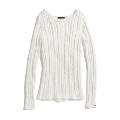 Image for CABLE BOAT NECK SWEATER from Tommy Hilfiger USA