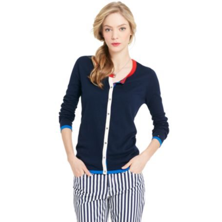 Image for TIPPED CREW NECK CARDIGAN from Tommy Hilfiger USA