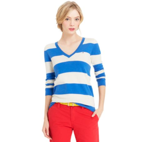 Image for V NECK RUGBY STRIPE SWEATER from Tommy Hilfiger USA