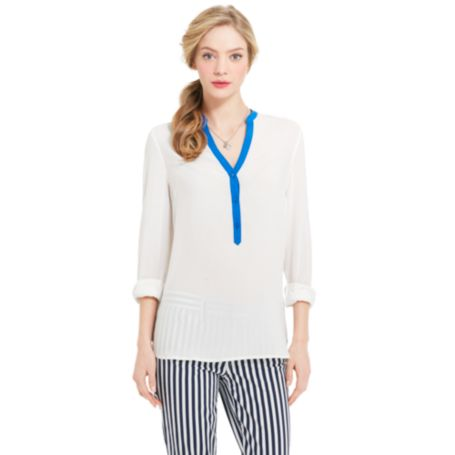 Image for TIPPED BLOUSE from Tommy Hilfiger USA