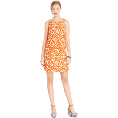 Image for SLEEVELSS IKAT PRINT DRESS from Tommy Hilfiger USA