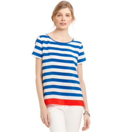 Image for SHORT SLEEVE WIDE STRIPE BLOUSE from Tommy Hilfiger USA