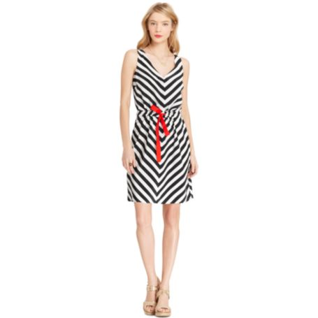 Image for V NECK CHEVRON STRIPE DRESS from Tommy Hilfiger USA