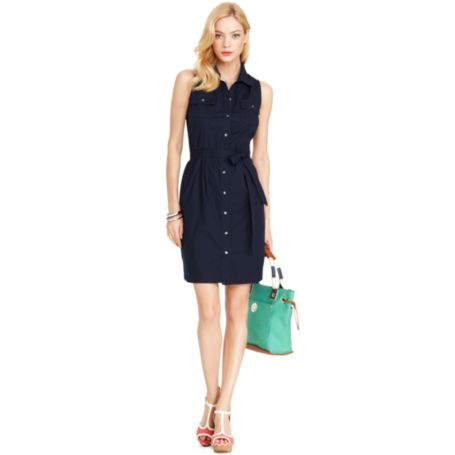 Image for SLEEVLESS SHIRTDRESS from Tommy Hilfiger USA