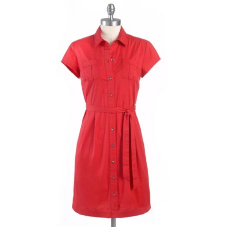 Image for SHORT SLEEVE SOLID SHIRT DRESS from Tommy Hilfiger USA