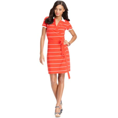Image for STRIPE WRAP DRESS from Tommy Hilfiger USA